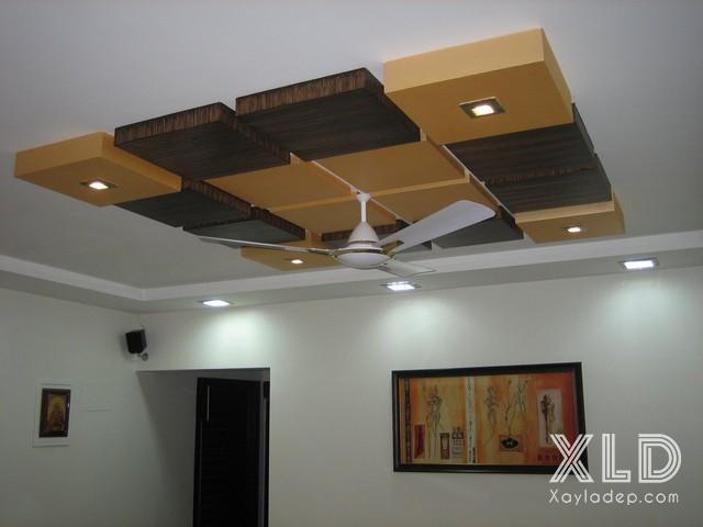 mau-tran-thach-cao-ket-hop-quat-tran-10 10 thiết kế trần thạch cao ấn tượng kết hợp với quạt trần