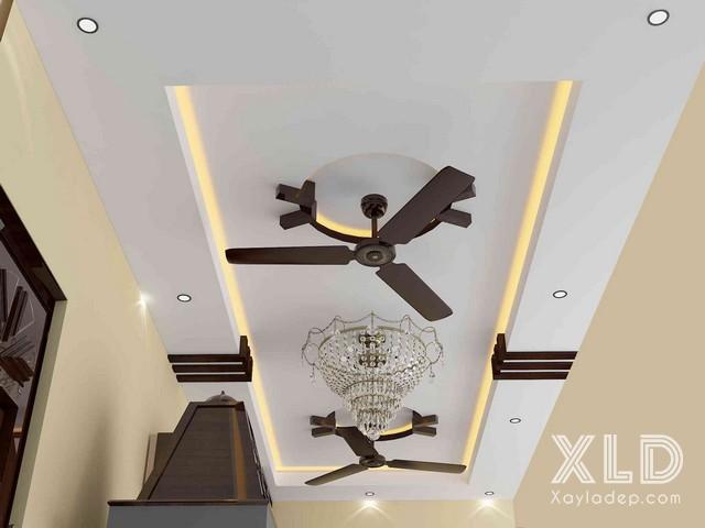 mau-tran-thach-cao-ket-hop-quat-tran-3 10 thiết kế trần thạch cao ấn tượng kết hợp với quạt trần
