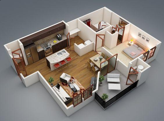 Căn hộ này có 2 phòng ngủ với kiểu thiết kế mở đang rất được ưa chuộng hiện nay. Màu sơn trắng sữa làm chủ đạo rất thích hợp cho các gia đình trẻ với 1-2 người con