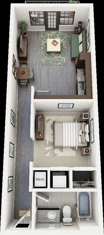 Một kiểu thiết kế nữa cũng dành riêng cho các căn nhà mặt phố, với chiều dài vượt trội mặt sàn có thể thiết kế gần như đầy đủ các phòng cần thiết. Cùng với các món đồ nội thất màu gụ đây là tone màu phù hợp cho các gia chủ đã trung niên hơn là cho các gia chủ trẻ tuổi
