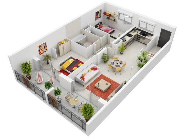 Nội thất của ngôi nhà này được thiết kế theo phong cách scandinavian với 2 phòng ngủ. Bạn có thể nhận thấy các món đồ nội thất được nổi bật bằng những màu vàng rực rỡ.