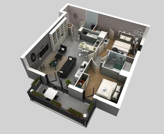 Mẫu thiết kế này có thể thích hợp cho các gia đình có diện tích đất hình vuông hoặc các căn hộ chung cư. Thiết kế nội thất bên trong với màu sắc trung tính sẽ phù hợp cho các gia chủ trung niên. Căn nhà này bao gồm 2 phòng ngủ, 1 phòng tắm ngoài ra phía ban công được thông với phòng khách và phòng ngủ chính giúp bạn có thể thoải mái ngắm nhìn quang cảnh xung quanh