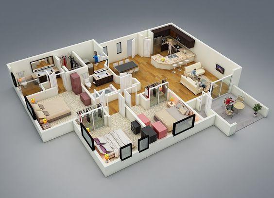 Ngôi nhà kích thước lớn với 3 phòng ngủ dành cho đại gia đình có từ 6 thành viên trở lên. Không gian sinh hoạt chung được thiết kế rộng, giảm thiểu tối đa các vách ngăn để tạo sự kết nối giữa các thành viên trong gia đình