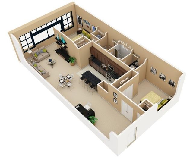 Mẫu thiết kế này rất thích hợp cho kiểu kiến trúc nhà ống hay nhà mặt phố rất được ưu chuộng tại Việt Nam. Tuy nhiên mặt bằng này uu tiên cho các mảnh đất có mặt tiền với diện tích lớn cũng như thoáng ở mặt sau. Thiết kế của căn hộ cũng ưu tiên sử dụng nguồn ánh sáng tự nhiên kết hợp với màu sơn bên trong