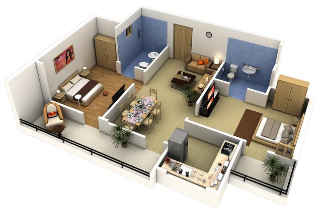 Điểm dễ nhận thấy nhất của ngôi nhà này chính là việc thu hẹp diện tích của bếp và không gian phòng khách để mở rộng kích thước của 2 phòng ngủ. Ngoài ra, mỗi phòng ngủ còn sở hữu riêng 1 ban công cho những phút giây thư giãn ngoài trời.