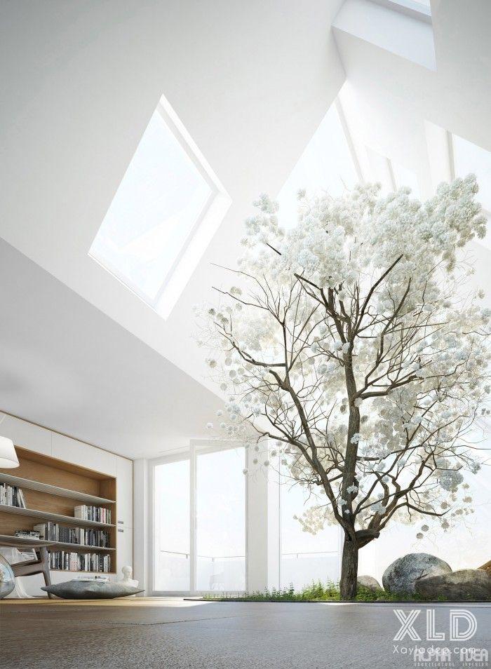 thiet ke phong khach phong cach skylights (4)