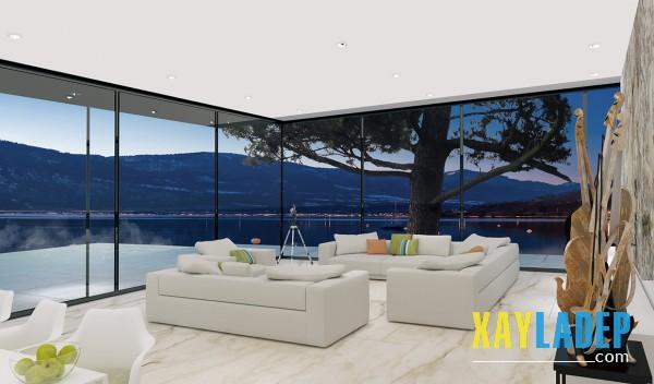 Nếu bạn tự tin với những món đồ nội thất cũng như trang trí phòng khách bên trong hãy để tất cả mọi người cùng ngắm nhìn và cảm nhận. Đó là những gì được thể hiện trong mẫu thiết kế này