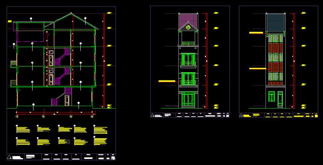Mặt chiếu của ngôi nhà ống 4 tầng
