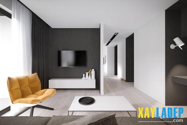 Trần phẳng là ưu tiên hàng đầu trong việc thiết kế nội thất chung cư nhỏ