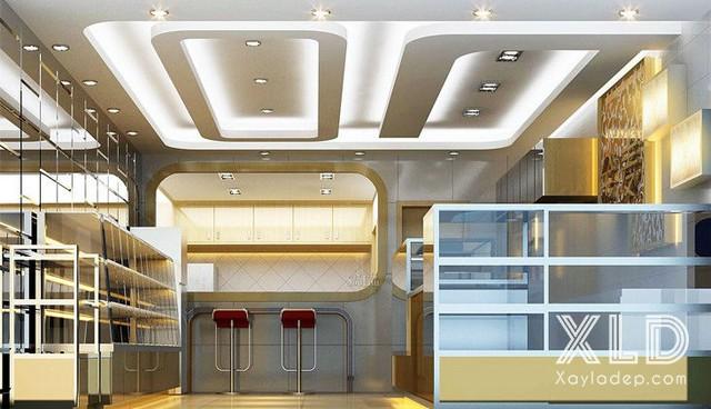 1. Mẫu trần thạch cao showroom - cửa hàng đẹp