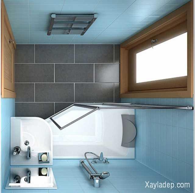 Với phòng tắm không có cửa sổ (thường là ở khu vực cầu thang nhà ống) bạn có thể lắp kính mờ để lấy ánh sáng từ bên ngoài vào.