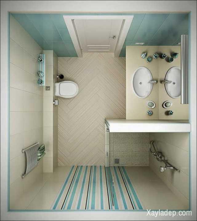 Thay cho một khu tắm lớn, bạn chỉ cần bố trí một góc vừa đủ với vòi hoa sen, khu thoát nước có độ dốc hợp lý.