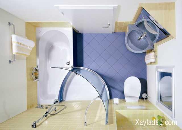 Các thiết bị vệ sinh nên được sắp xếp gọn vào các góc của nhà tắm để tiết kiệm diện tích
