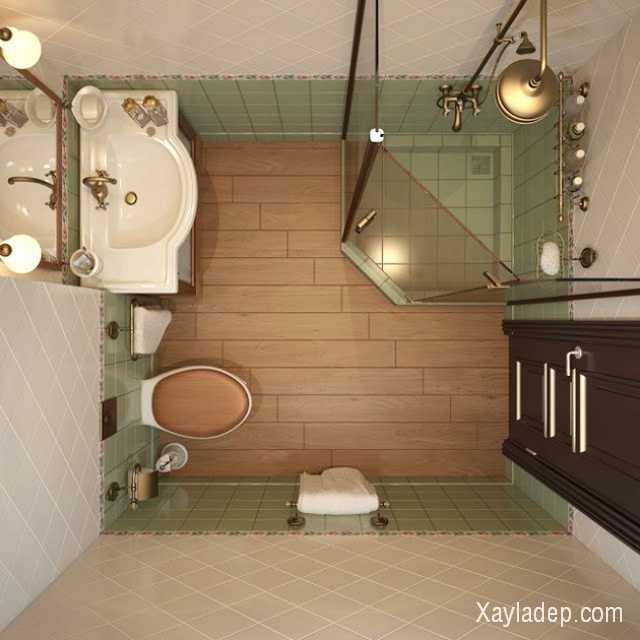 Các phòng tắm nhỏ không nên lắp đặt hệ thống bồn tắm thay vào đó nên sử dụng các tấm vách ngăn kính để tách biệt khu tắm với những khu vực khác như bồn cầu, bồn rửa mặt