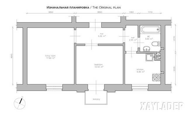 Mặt bằng ban đầu của căn hộ chung cư 50m2