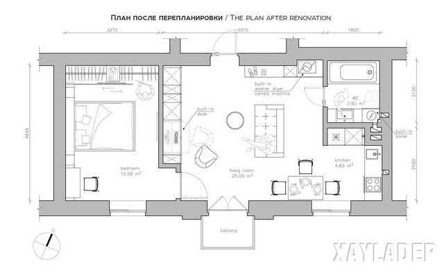 Không gian nội thất các phòng trong căn hộ chung cư 50m2 sau khi cải tạo