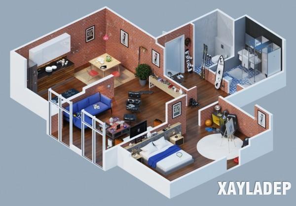 Mẫu thiết kế chung cư theo  phong cách công nghiệp 02