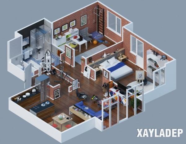 Mẫu thiết kế chung cư theo  phong cách công nghiệp 03