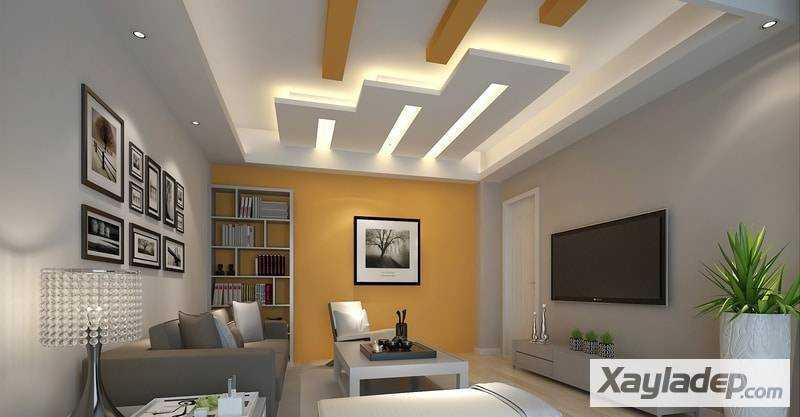 trần thạch cao, 10 ý tưởng thiết kế trần giật cấp cho phòng khách 2017, Nhà đẹp