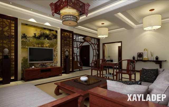 Mẫu thiết kế nội thất phòng khách Trung Hoa cổ điển tuyệt đẹp