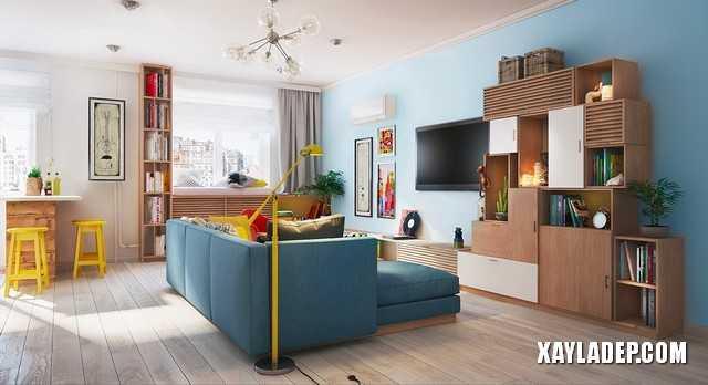 1 | Mẫu thiết kế nội thất chung cư 70m2 ngập tràn màu sắc