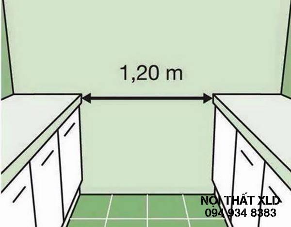 Khoảng cách lý tưởng giữa 2 tủ bếp song song là 1,2m