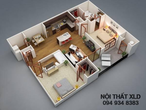 50 Mẫu thiết kế nhà riêng/ chung cư 2 phòng ngủ tiện nghi -1