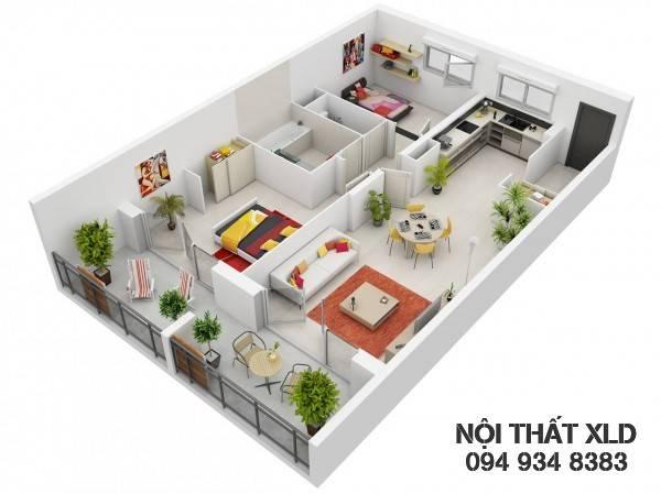 mau-thiet-ke-noi-that-chung-cu-2-phong-ngu-phan-1-3 50 Mẫu thiết kế căn hộ chung cư 2 phòng ngủ tiện nghi (Phần 1)