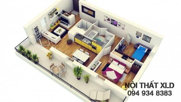 mau-thiet-ke-noi-that-chung-cu-2-phong-ngu-phan-1-4 50 Mẫu thiết kế căn hộ chung cư 2 phòng ngủ tiện nghi (Phần 1)