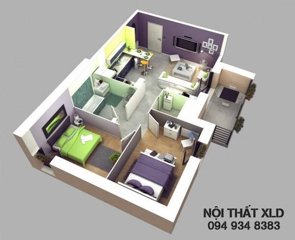 50 Mẫu thiết kế nhà riêng/ chung cư 2 phòng ngủ tiện nghi