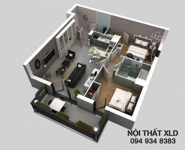 mau-thiet-ke-noi-that-chung-cu-2-phong-ngu-phan-1-6 50 Mẫu thiết kế căn hộ chung cư 2 phòng ngủ tiện nghi (Phần 1)