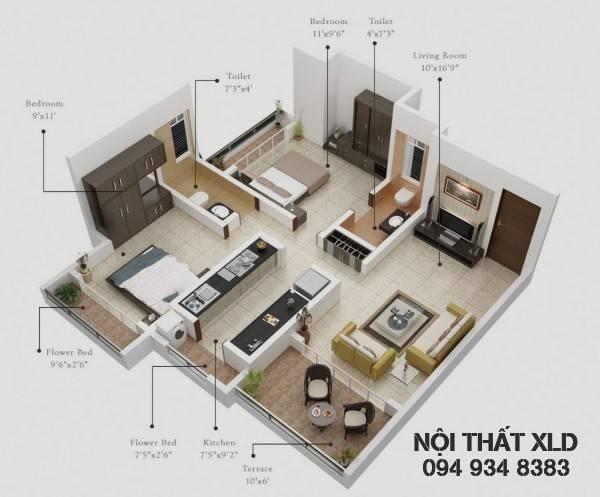 mau-thiet-ke-noi-that-chung-cu-2-phong-ngu-phan-1-7 50 Mẫu thiết kế căn hộ chung cư 2 phòng ngủ tiện nghi (Phần 1)