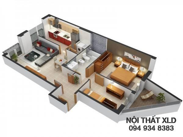 mau-thiet-ke-noi-that-chung-cu-2-phong-ngu-phan-1-8 50 Mẫu thiết kế căn hộ chung cư 2 phòng ngủ tiện nghi (Phần 1)