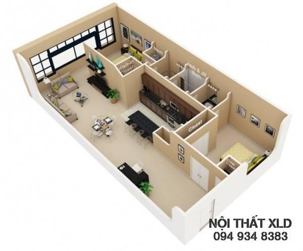 mau-thiet-ke-noi-that-chung-cu-2-phong-ngu-phan-1-9 50 Mẫu thiết kế căn hộ chung cư 2 phòng ngủ tiện nghi (Phần 1)