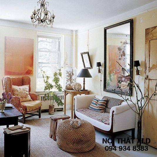 gương dễ dàng làm diện tích của cả phòng khách tăng lên gấp đôi