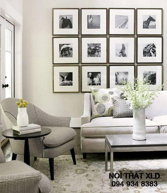 Sử dụng các bức họa trung bình hoặc lớn để treo tường