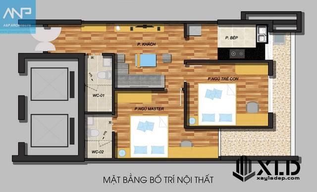 Mặt bằng căn hộ chung cư 70m2 tại Xuân Đỉnh - Từ Liêm