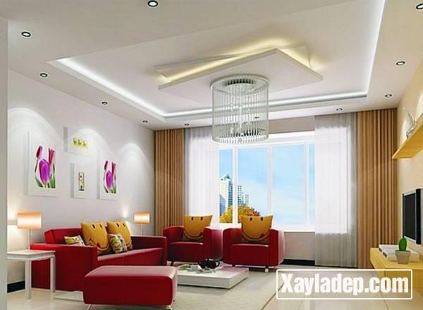 Mẫu trần thạch cao phòng khách đẹp 2017 - Mẫu 01