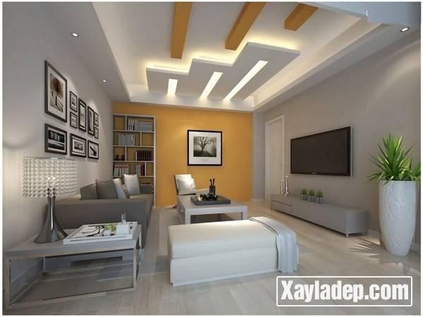 Mẫu trần thạch cao phòng khách đẹp 2017 - Mẫu 10