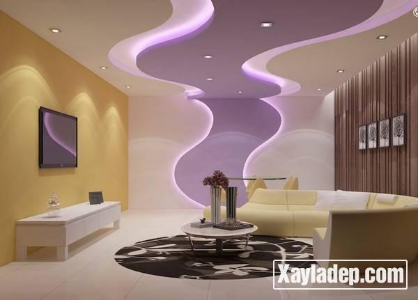 Mẫu trần thạch cao phòng khách đẹp 2017 - Mẫu 16