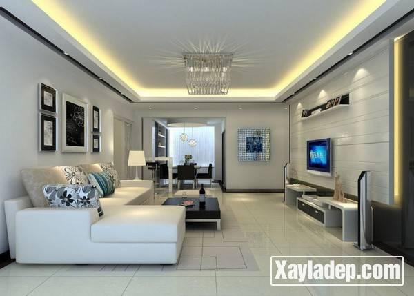 Mẫu trần thạch cao phòng khách đẹp 2017 - Mẫu 17