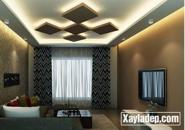 Mẫu trần thạch cao phòng khách đẹp 2017 - Mẫu 07