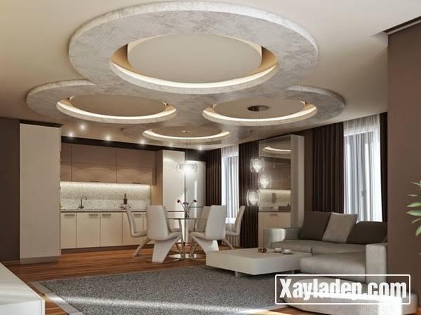 Mẫu trần thạch cao phòng khách đẹp 2017 - Mẫu 09