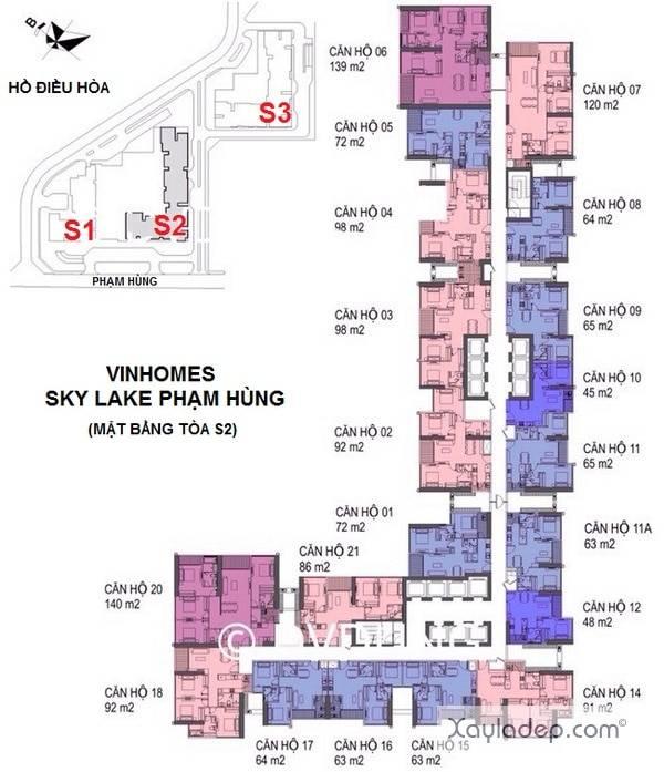 Sơ đồ mặt bằng toàn S2 Vinhomes Sky Lake - Phạm Hùng