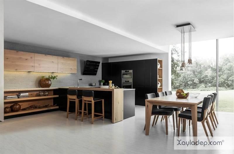phong-bep-voi-go-va-mau-den-1 22 Mẫu thiết kế phòng bếp ấn tượng kết hợp giữa gỗ và gam màu đen