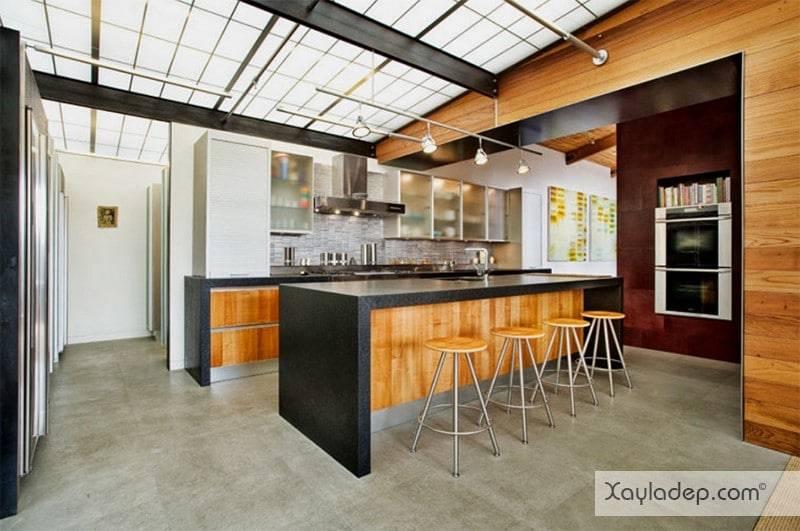 phong-bep-voi-go-va-mau-den-18 22 Mẫu thiết kế phòng bếp ấn tượng kết hợp giữa gỗ và gam màu đen