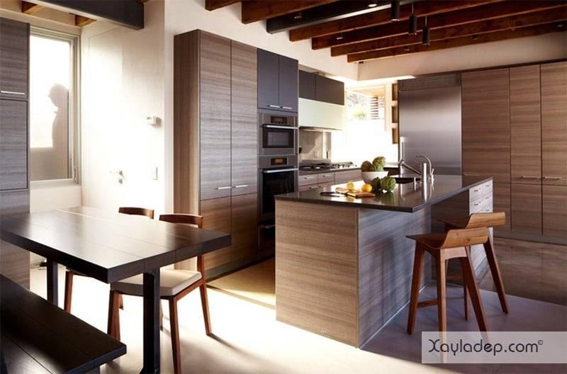 phong-bep-voi-go-va-mau-den-21 22 Mẫu thiết kế phòng bếp ấn tượng kết hợp giữa gỗ và gam màu đen