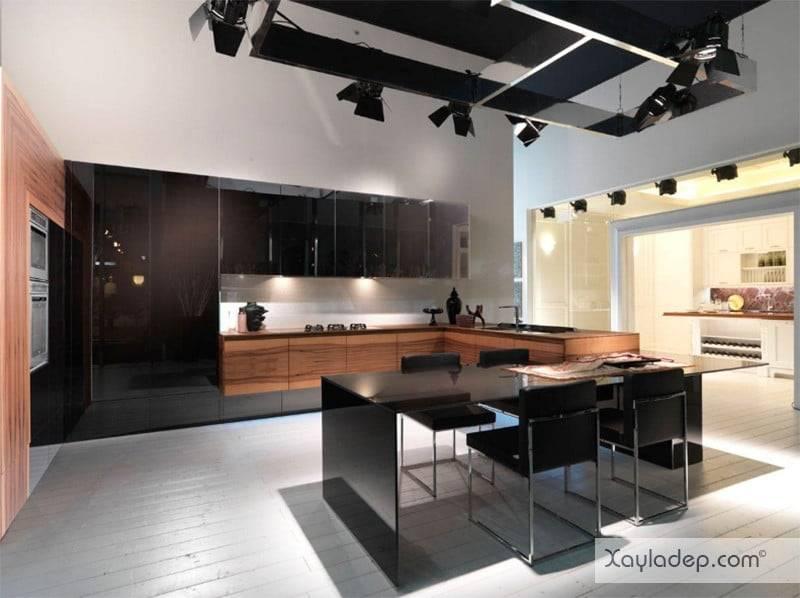 phong-bep-voi-go-va-mau-den-8 22 Mẫu thiết kế phòng bếp ấn tượng kết hợp giữa gỗ và gam màu đen