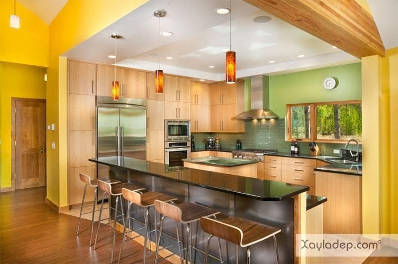 phong-bep-voi-go-va-mau-den-9 22 Mẫu thiết kế phòng bếp ấn tượng kết hợp giữa gỗ và gam màu đen