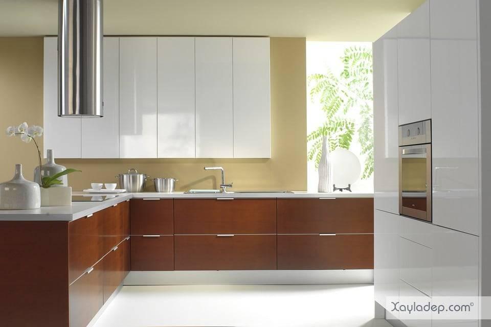 Mẫu tủ bếp laminate đẹp vân gỗ